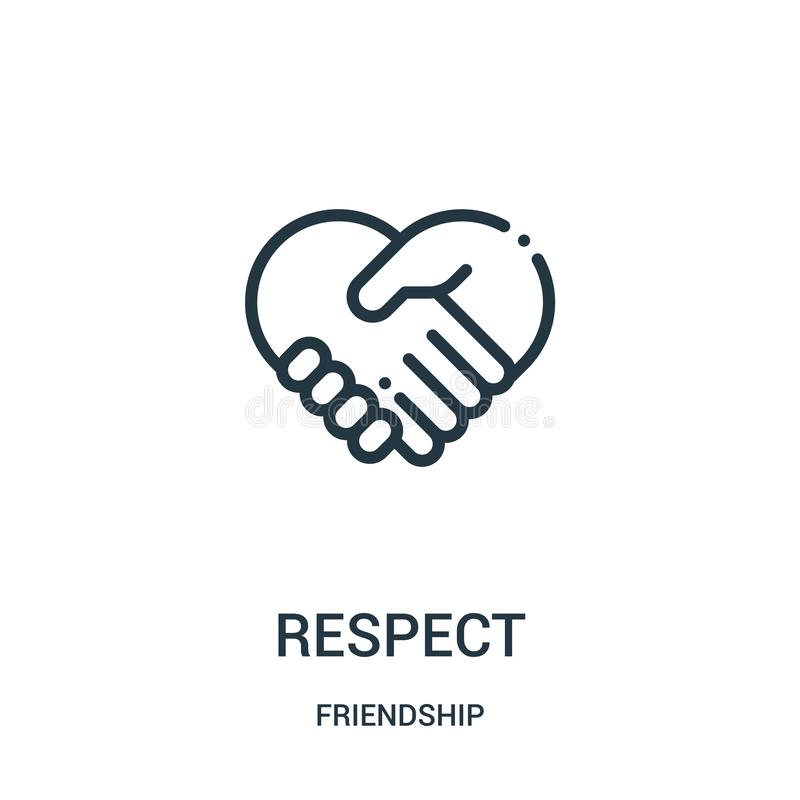 Respect icon vector from friendship collection. Thin line respect outline icon vector illustration. Linear symbol for use on web. And mobile apps, logo, print royalty free illustration