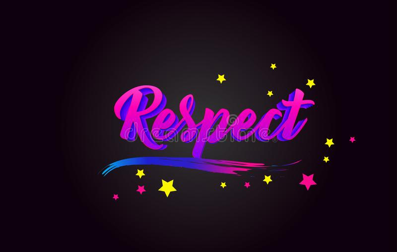 Respect Purple Handwritten lettering typography. Word for logotype, badge, icon, card, postcard, logo, banner, tag Vector vector illustration