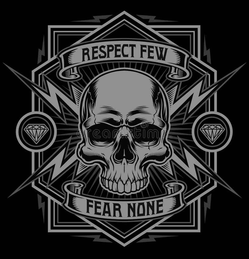 Free Respect Skull Lightning T-shirt Graphic Royalty Free Stock Photos - 69525458