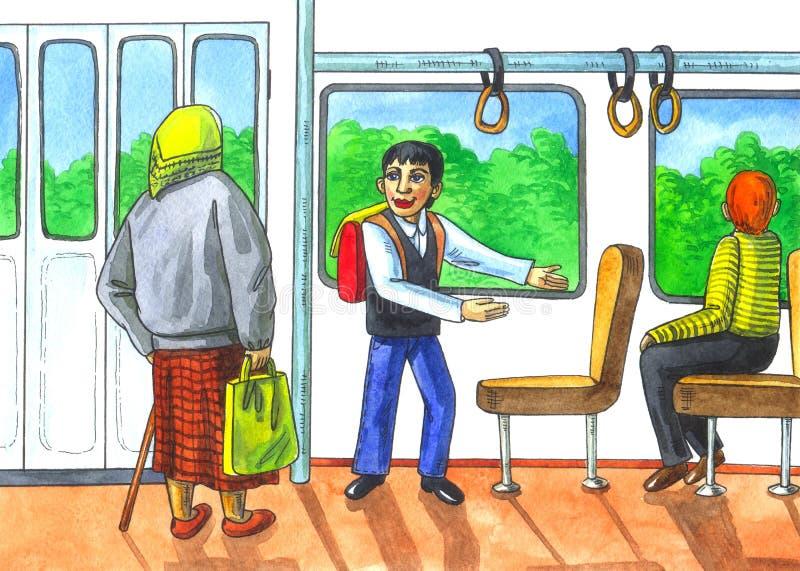Respect to elderly in transport royalty free illustration