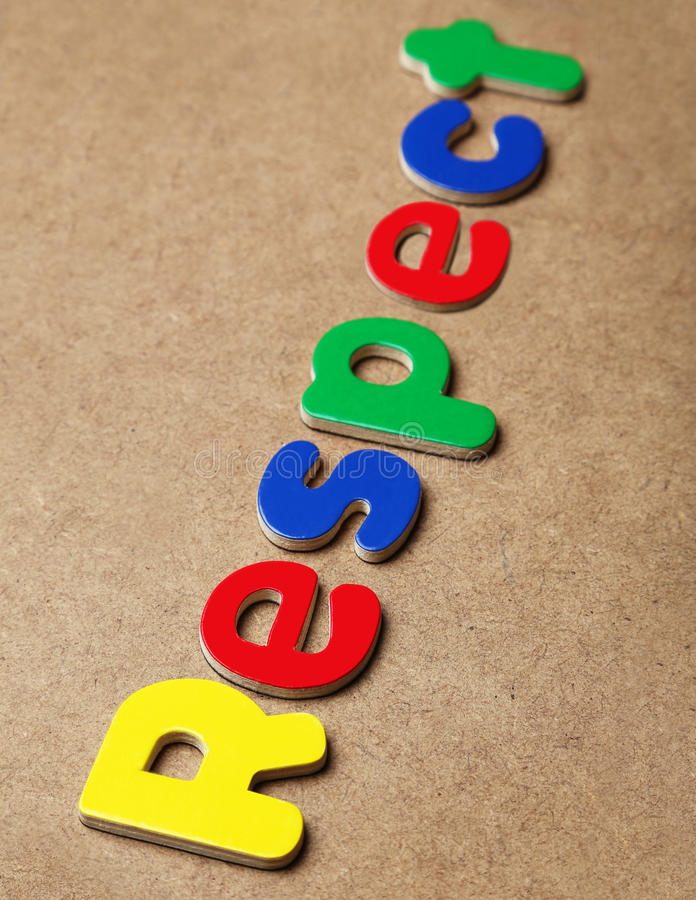 Respect. Word made of colorful magnets stock image