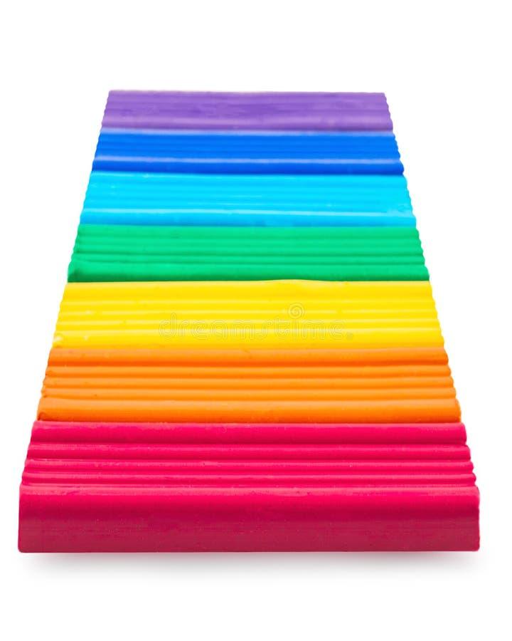 Respectivamente cores colocadas massa de modelar do arco-íris foto de stock royalty free