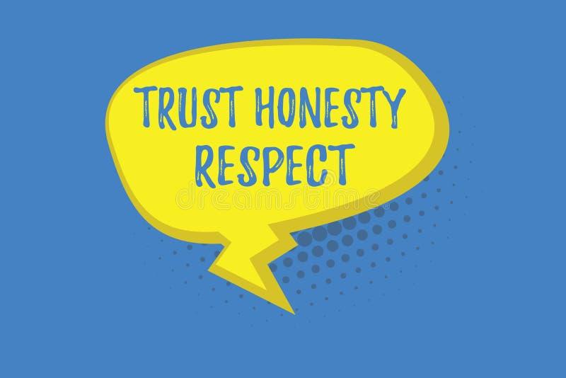 Respecto de la honradez de la confianza del texto de la escritura de la palabra Concepto del negocio para los rasgos respetables  stock de ilustración