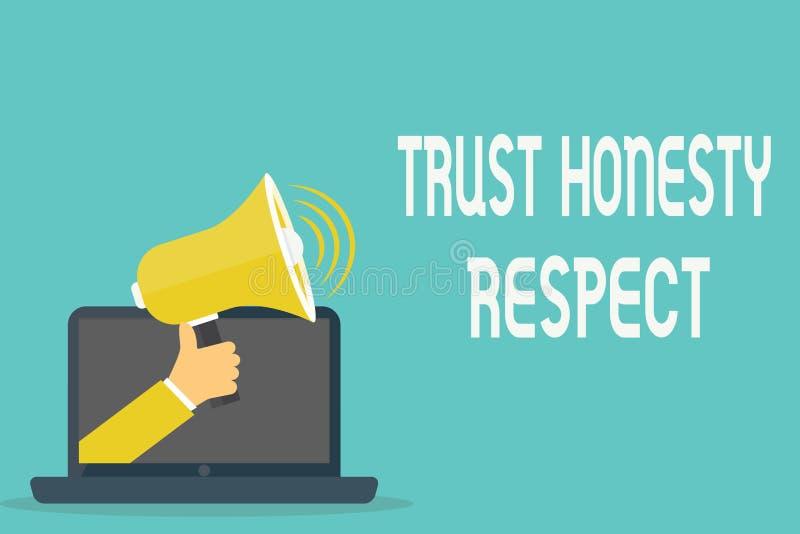 Respeito da honestidade da confiança do texto da escrita Conceito que significa traços respeitáveis uma faceta do bom caráter mor ilustração do vetor