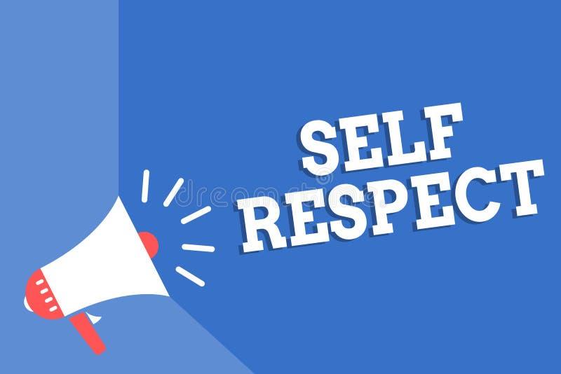 Respeito do auto da escrita do texto da escrita O orgulho e a confiança do significado do conceito noneself representam acima o s ilustração stock