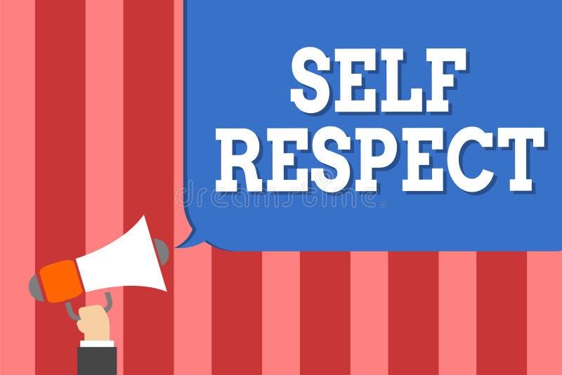 Respeito do auto da escrita do texto da escrita O orgulho e a confiança do significado do conceito noneself representam acima o s ilustração royalty free