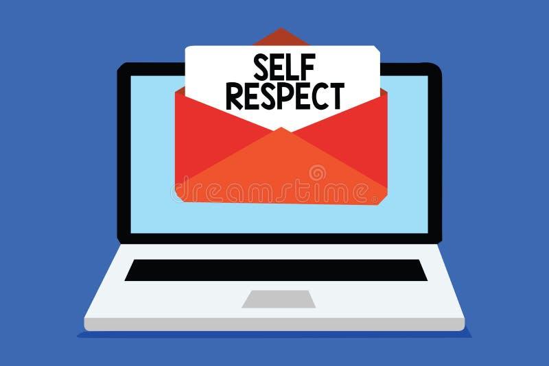 Respeito do auto do texto da escrita da palavra O conceito do negócio para o orgulho e a confiança noneself representam acima o s ilustração royalty free