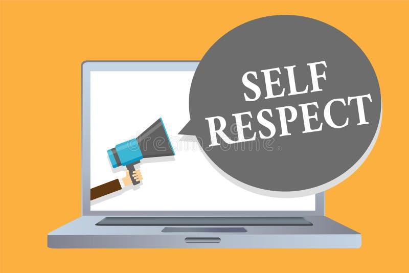 Respeito do auto do texto da escrita da palavra O conceito do negócio para o orgulho e a confiança noneself representam acima o s ilustração do vetor