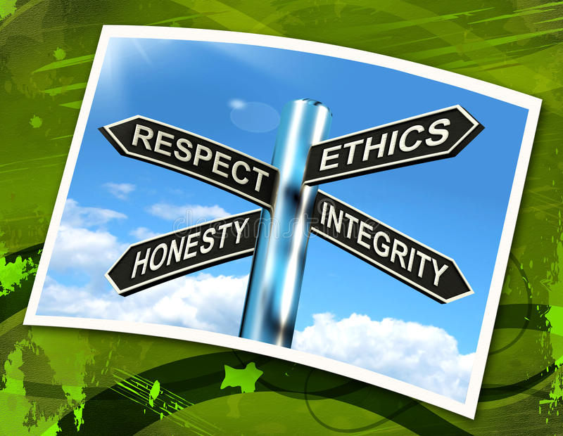 Respekt-Ethik-bedeutet ehrliches Integritäts-Zeichen gute Qualitäten stock abbildung