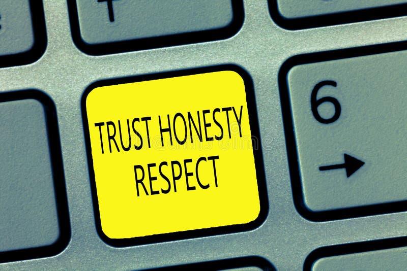 Respekt för ärlighet för förtroende för handskrifttexthandstil Begrepp som betyder respektabla drag en fasett av det bra moralisk royaltyfri bild