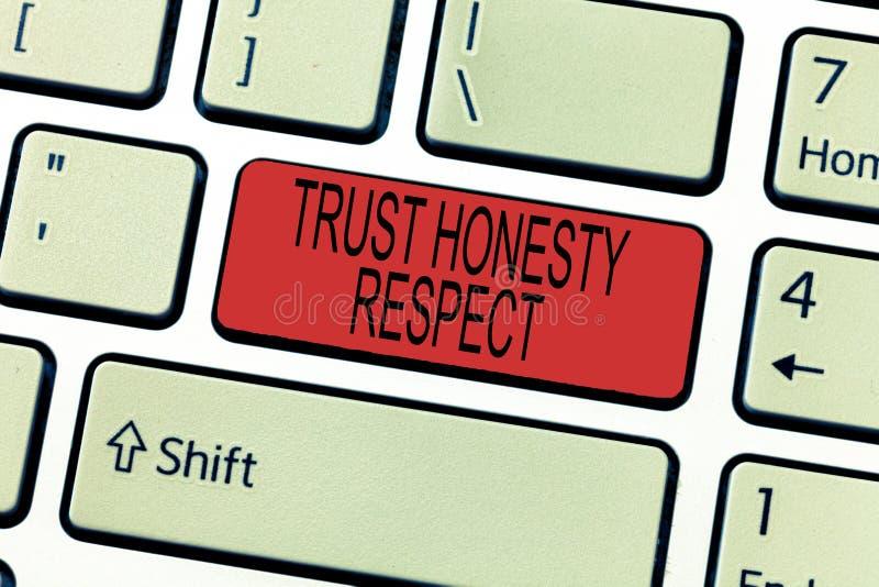 Respekt för ärlighet för förtroende för ordhandstiltext Affärsidé för respektabla drag en fasett av det bra moraliska teckenet royaltyfri fotografi