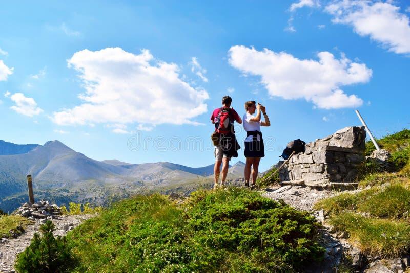 Respijt terwijl het beklimmen van Olympus stock afbeelding