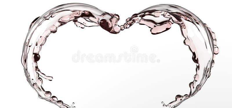 Respingo abstrato da água da forma do coração ilustração stock
