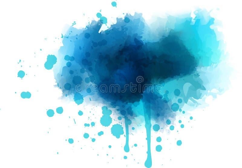 Respingo azul da aquarela imagem de stock