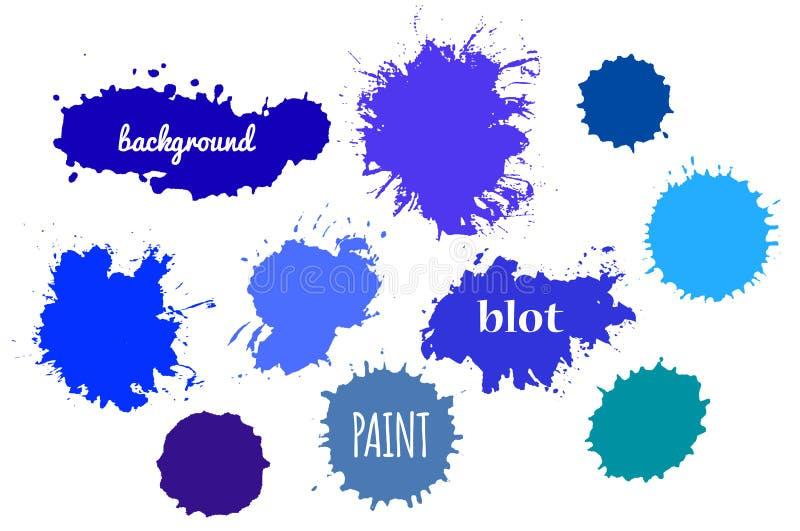 Respingo azul da pintura Grupo do vetor de cursos da escova ilustração stock