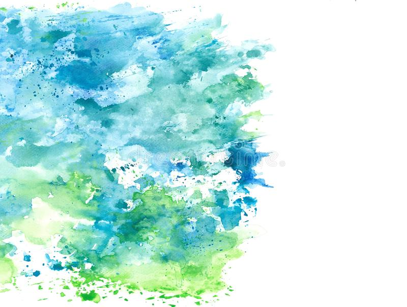 Respingo azul e verde abstrato da aquarela no papel de fundo branco, elemento do grunge para a decoração, ilustração ilustração royalty free
