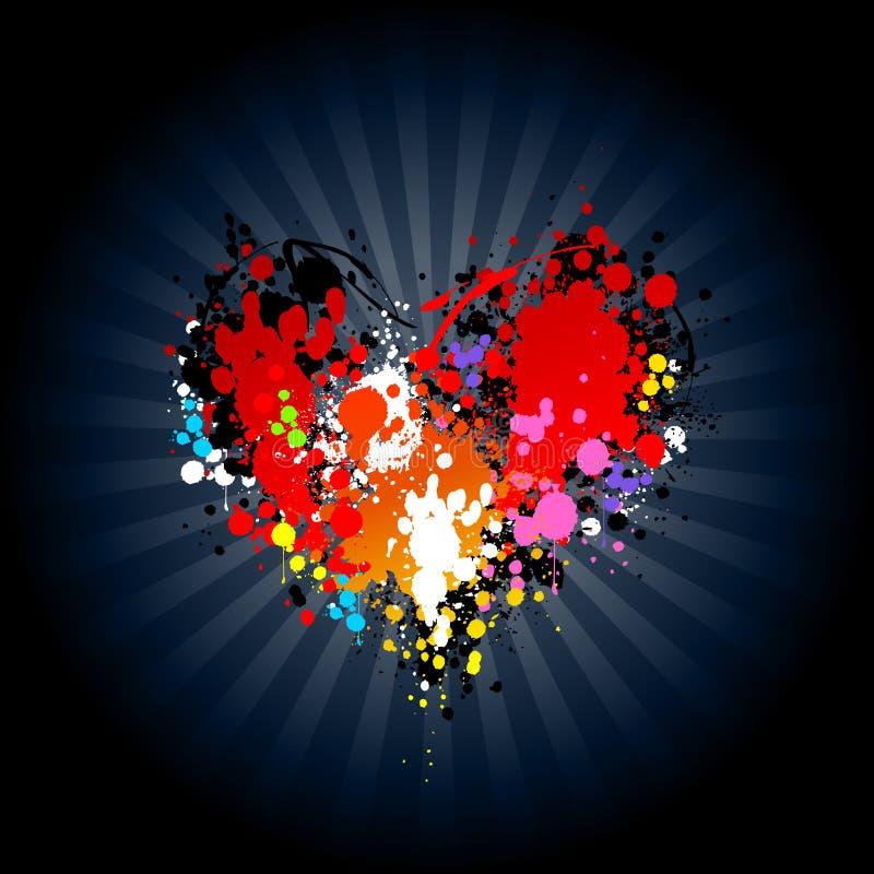 Respingo brilhante da tinta na forma do coração ilustração stock