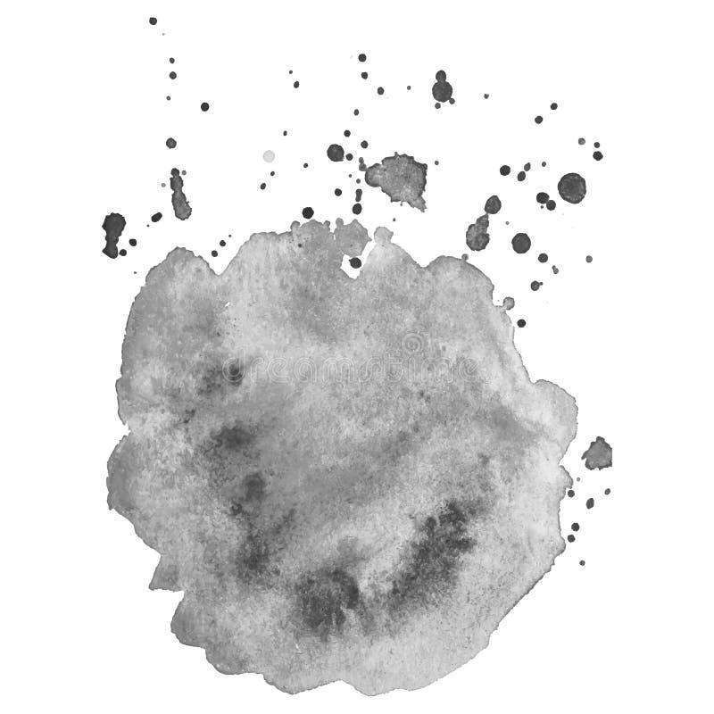 Respingo cinzento isolado sumário da aquarela do vetor Elemento do Grunge para o projeto de papel imagem de stock