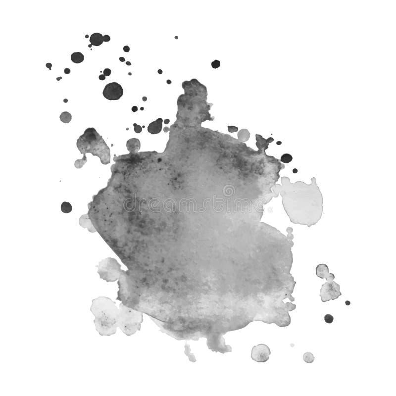 Respingo cinzento isolado sumário da aquarela do vetor Elemento do Grunge para o projeto de papel imagens de stock