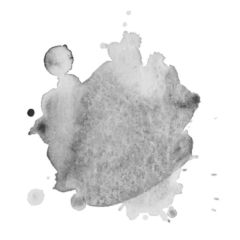 Respingo cinzento isolado sumário da aquarela do vetor Elemento do Grunge para o projeto de papel fotos de stock royalty free