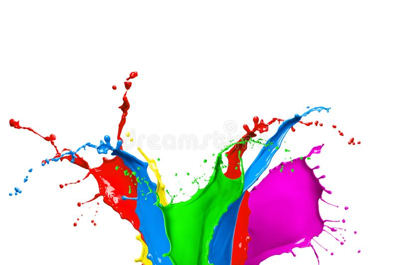 Respingo colorido abstrato da pintura fotografia de stock