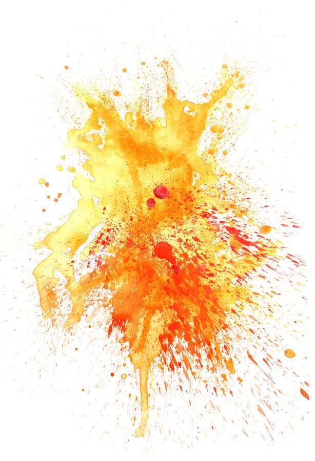 Respingo colorido da aquarela no fundo branco ilustração royalty free