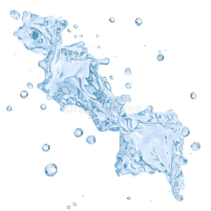 Respingo da água com as gotas de água isoladas Trajeto de grampeamento incluído ilustração 3D ilustração royalty free