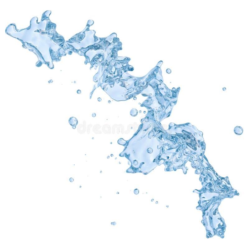 Respingo da água com as gotas de água isoladas Trajeto de grampeamento incluído ilustração 3D ilustração stock