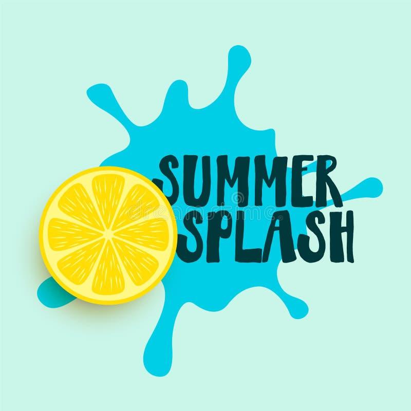 Respingo da água do verão com fundo do limão ilustração stock