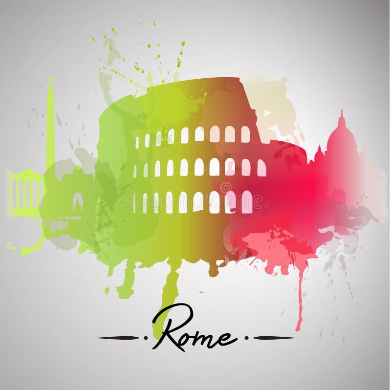 Respingo da aquarela de Roma ilustração stock