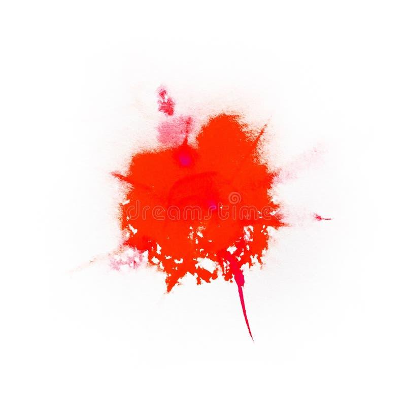 Respingo da cor vermelha da aquarela ilustração royalty free