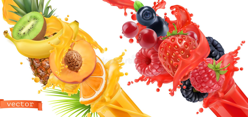 Respingo da explosão do fruto do suco grupo do ícone do vetor 3d ilustração royalty free