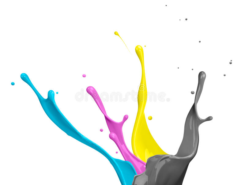 Respingo da pintura de CMYK fotografia de stock