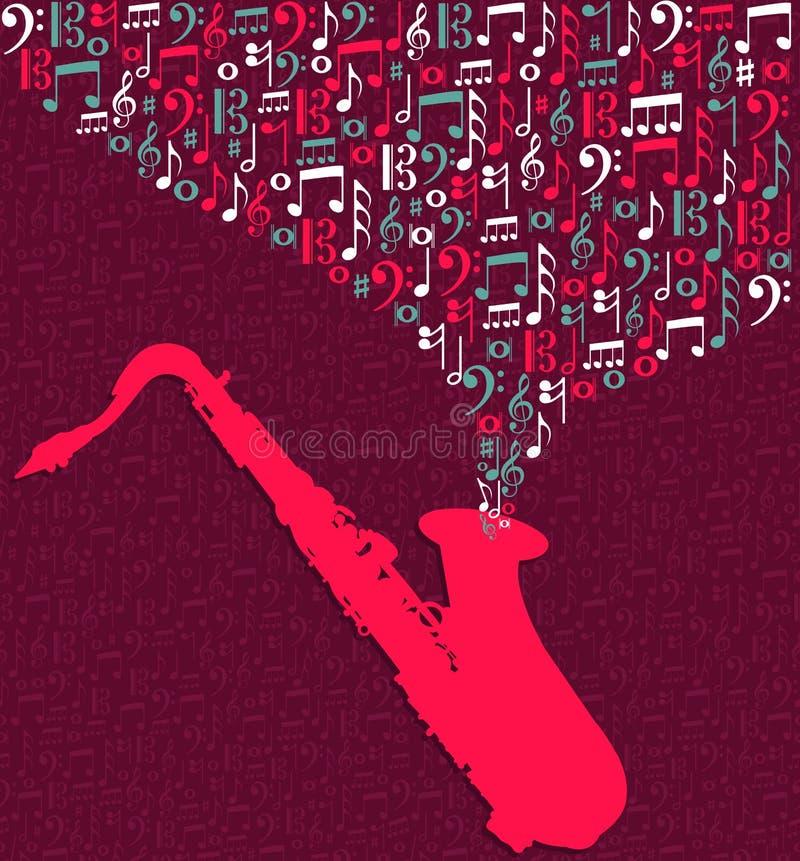 Respingo das notas da música do saxofone ilustração stock