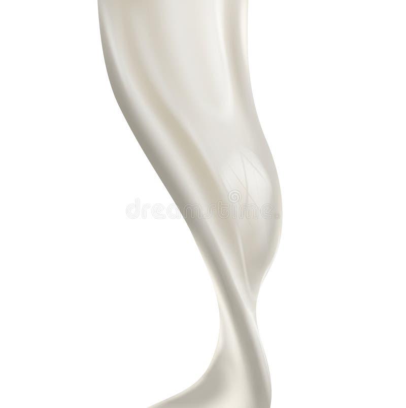 Respingo de derramamento do leite no fundo branco ilustração do vetor