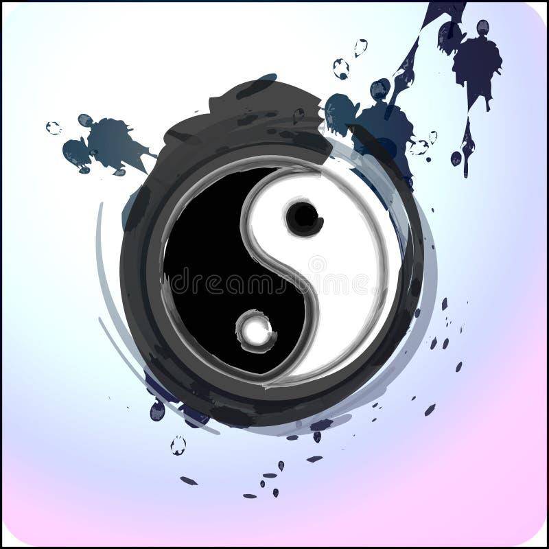 Respingo de Yin yang com tinta ilustração royalty free