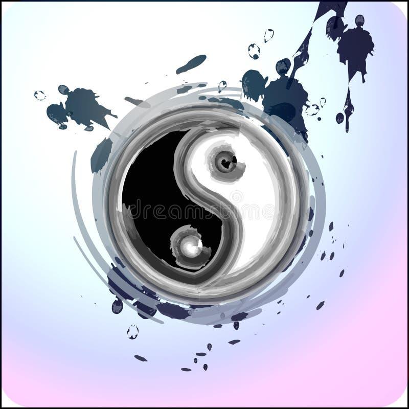 Respingo de Yin yang com tinta ilustração stock