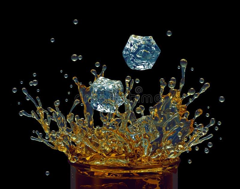 Respingo dinâmico da bebida do chá de gelo, do suco ou do álcool ilustração do vetor