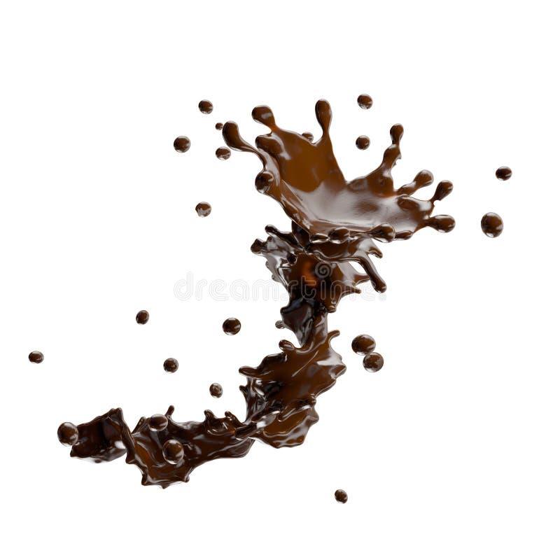 Respingo do chocolate com as gotas isoladas ilustração 3D ilustração stock