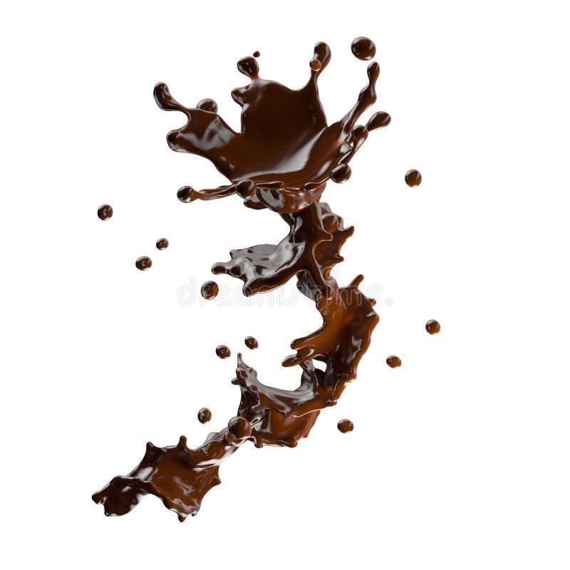 Respingo do chocolate com as gotas isoladas ilustração 3D ilustração do vetor
