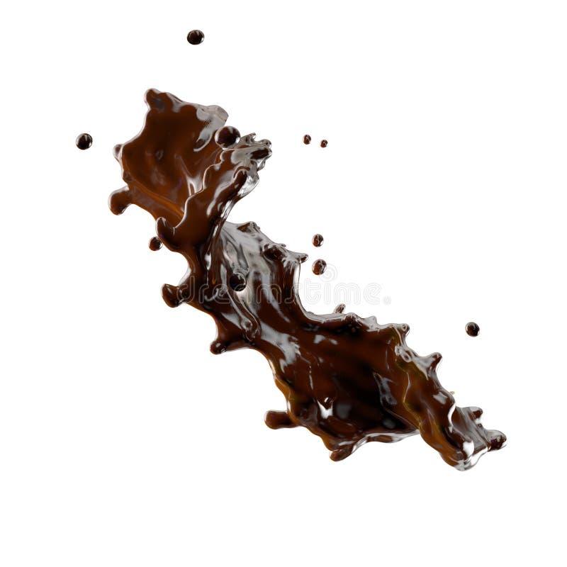 Respingo do chocolate com as gotas isoladas ilustração 3D ilustração royalty free