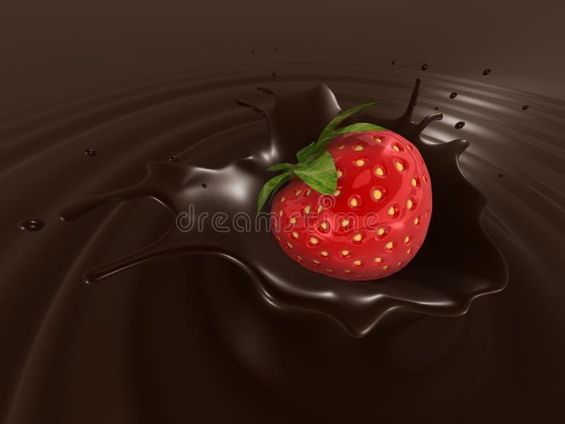 Respingo do chocolate da morango ilustração royalty free