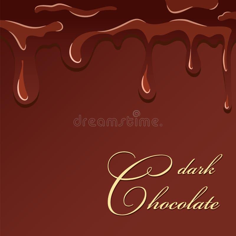 Respingo do chocolate Fundo marrom isolado do chocolate projeto escuro Sobremesa dos doces da brownie Alimento doce do fundente C ilustração stock