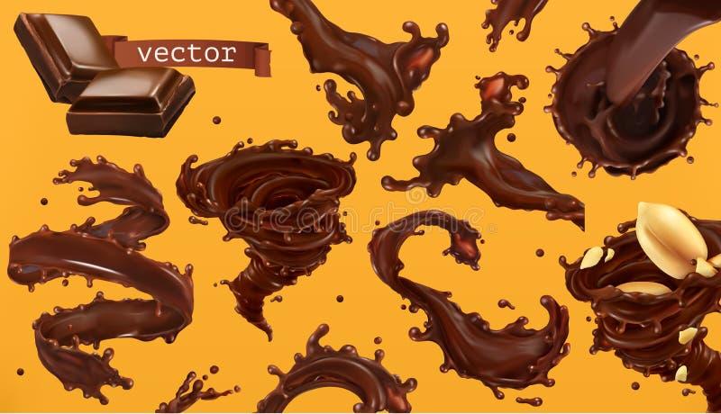 Respingo do chocolate grupo do ícone do vetor 3d ilustração do vetor