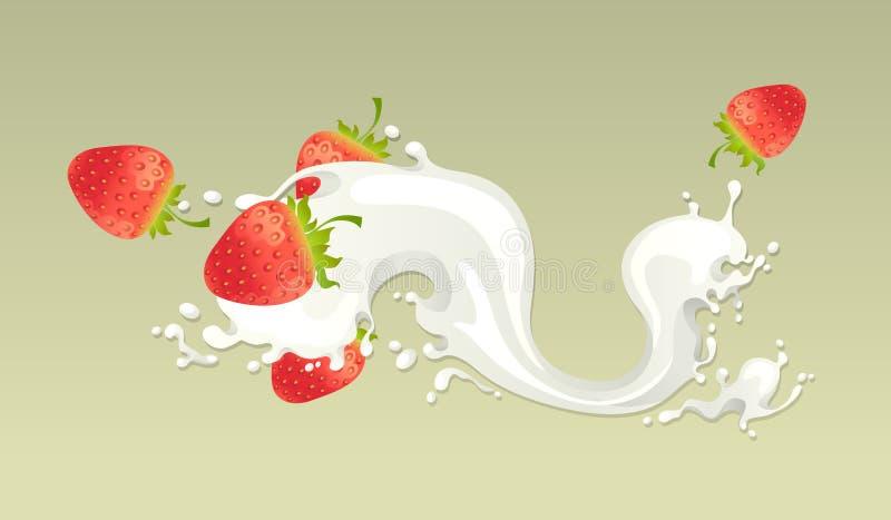 Respingo do leite com morango ilustração do vetor