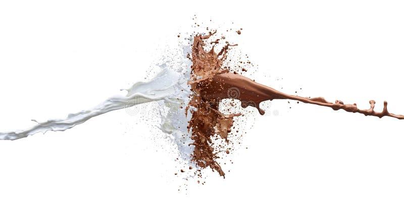Respingo do leite de chocolate e do trajeto branco do leite fotos de stock
