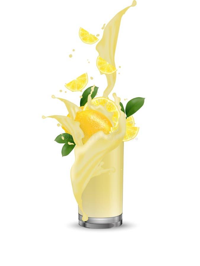 Respingo do limão, suco de lima 3d vetor realístico EPS 10 Packagi ilustração stock
