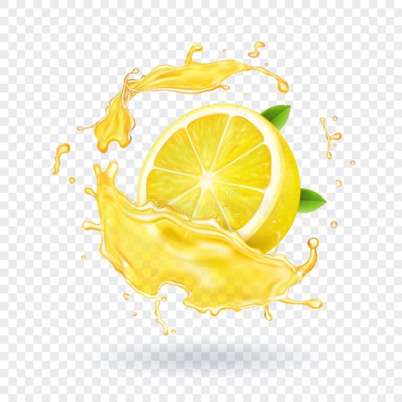 Respingo do suco de fruto do limão realístico ilustração do vetor