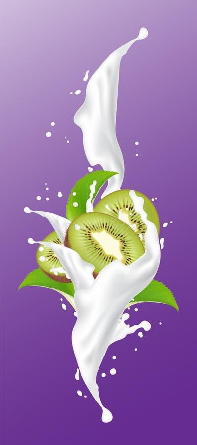 Respingo do suco do leite do quivi Quivi brilhante que espirra o elem do projeto do iogurte ilustração stock