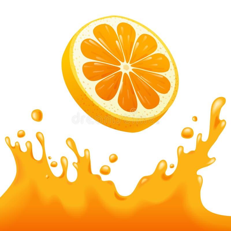 Respingo do sumo de laranja ilustração do vetor